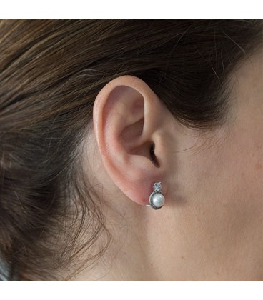 Zirconite white gold earrings