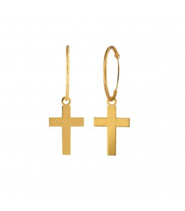 18K Gold Hoop Earrings with Children's Cross