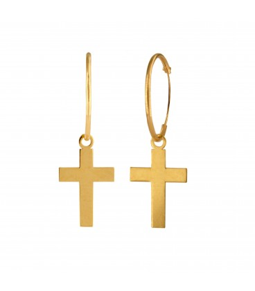 18K Gold Cross Hoop Earrings
