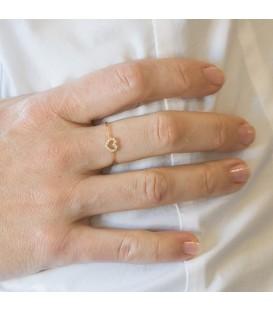 Anillo Oro 18K con corazón engastado en circonitas