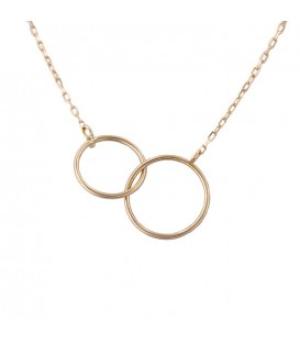 Double Smooth Circle Necklace in 18K Gold