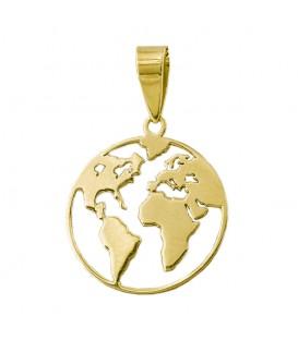 """Colgante Mapamundi de oro 18K """"Salvemos Nuestro Planeta"""""""