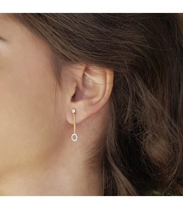 Boucles d'oreilles longues Or 18K et cercle zirconium