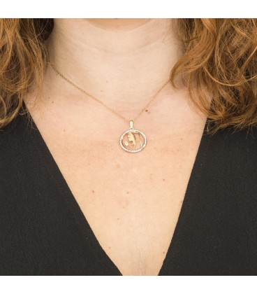 Gold Girl Virgin Pendant Set with Zirconia