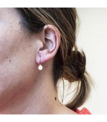 Gold Hoop Earrings with Flower