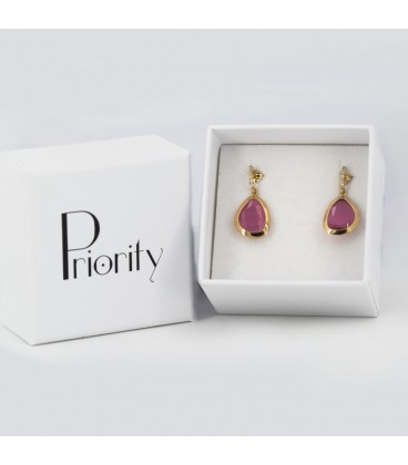 Zirconite earrings and rose stone in 18K gold