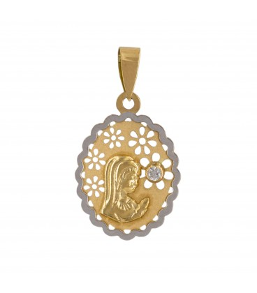 Virgin Communion Medal Girl Gold 18k