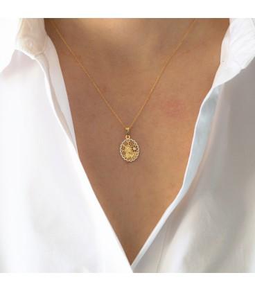 Virgin Communion Medal Girl Gold