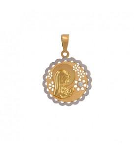 Medalla de comunión virgen oro 18k