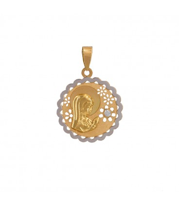 Gold Virgin Communion Medal 18k