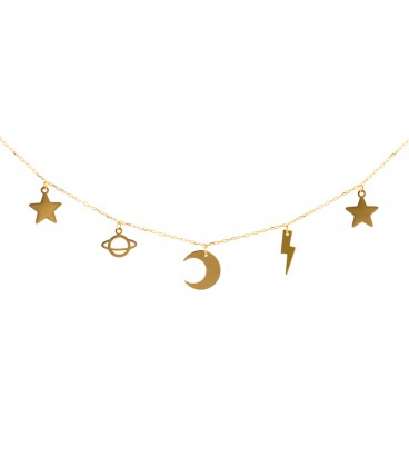 Golden star charms necklace