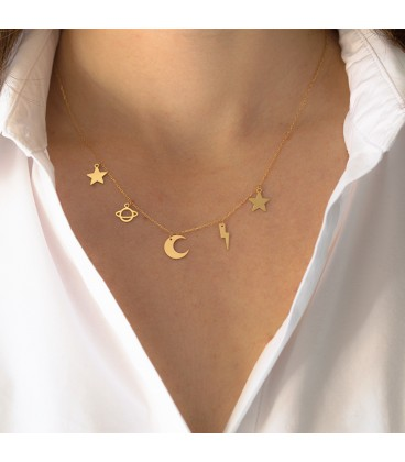 Golden Galaxy Stars necklace