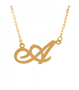 Necklace with Initial Gold in italics