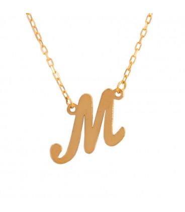 Gold Initial Pendant in Italics