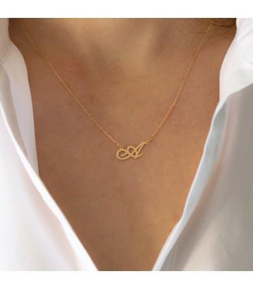 Custom gold initial pendant
