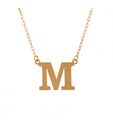 Necklace with initial in 18k gold