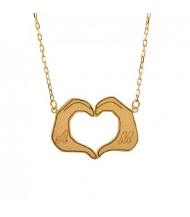 Necklace hands with heart Gold