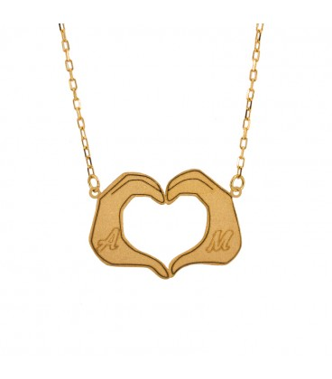 Heart necklace with customizable 18K gold hands
