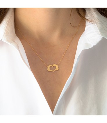 Heart necklace with hands customizable gold