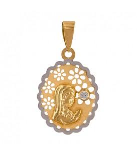 Colgante Virgen con circonita Grande