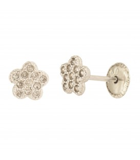 Bicolor 18K Gold Flower Earrings