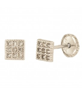 18K Bicolor Gold Frame Earrings with Zirconite