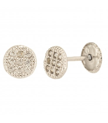 18K Bicolor Gold Circle Earrings with Zirconia
