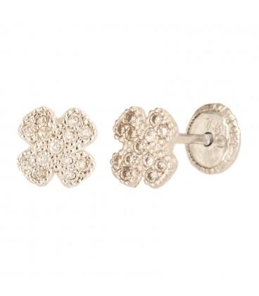 18K Golden Trebol Cuajo Earrings with Zirconia