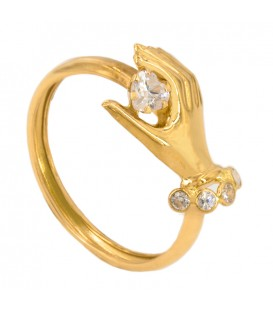 Sortija gold hand with heart zirconite