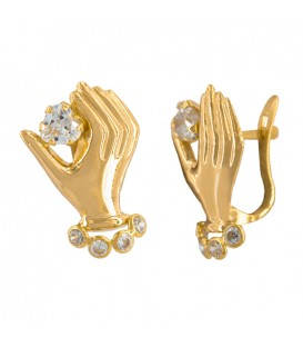 18k Gold Hand Earrings