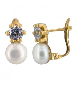 Zirconite and Pearl Communion Girl Earrings