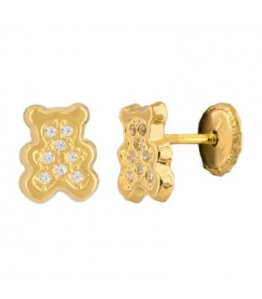18k gold bears earrings with zirconia