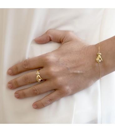 18k Zirconite Gold Hand Bracelet
