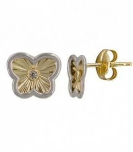 Boucles d'oreilles papillon bicolore18K