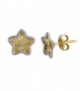 Boucle d'oreille «Little Star» Étoile 18K Bicolore