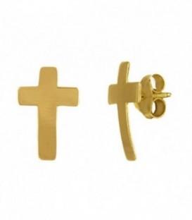 Pendientes Cruz Oro Amarillo 18K