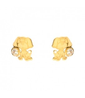 Earrings 18k Gold Dog