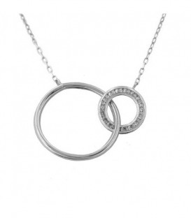 Necklace Double Circle in White Gold 18K