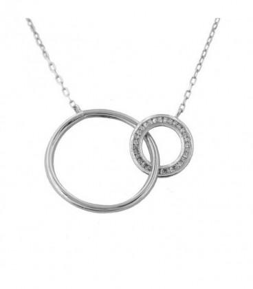 "Ras-du-cou «Circles» Double Cercle en or blanc 18K"""