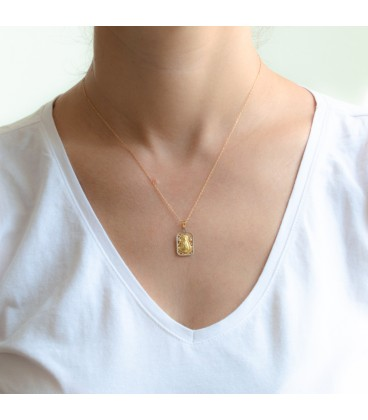 """Médaille La blanche colombe"" Vierge du Rocio Or 18K Bicolore avec zircons"""