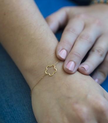 pulsera flor oro