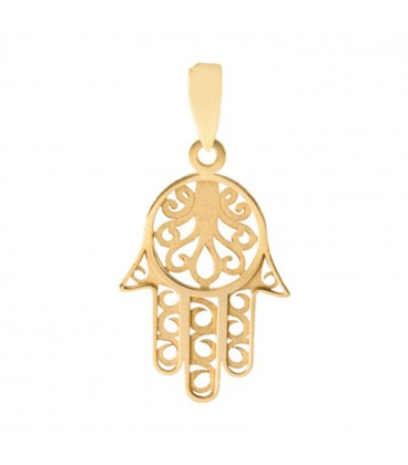Fatima Hand Pendant in 18K Gold Carved
