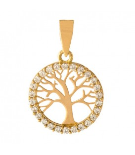 18K Gold Tree of Life Pendant with Zirconia