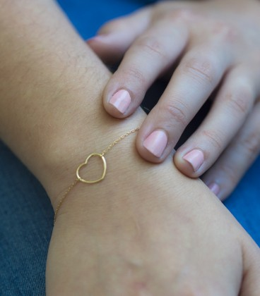 18k gold heart bracelet