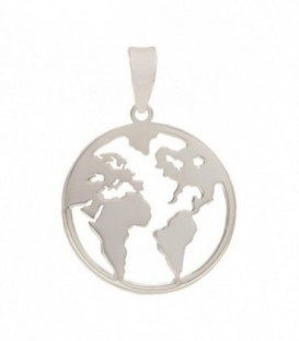 Pendant Silver World Map