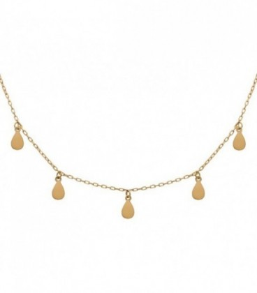 Necklace charms tear 18k gold with adjustable chain