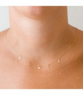 Ras-du-cou Charms larme or 18k avec chaîne réglable