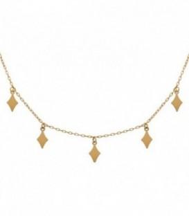 Collier ras du cou avec losanges en or 18 carats et chaîne réglable de 45 à 40 cm.