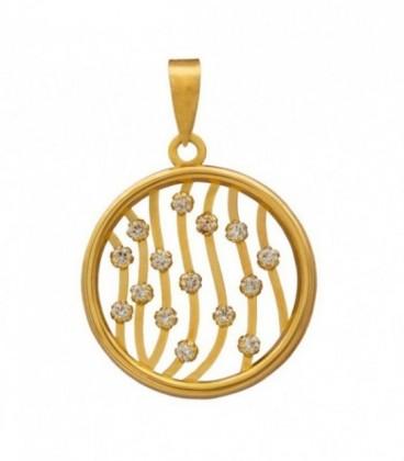 18k gold circles and zirconia pendants