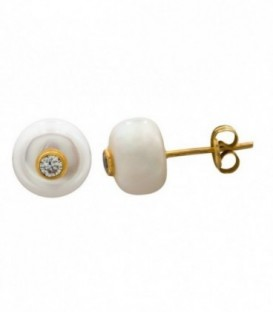 Pearl earrings in 18k gold with zirconia